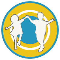 Logo image in a circle of two children holding hands and playing or skipping